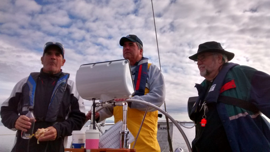 Lunch at the helm.